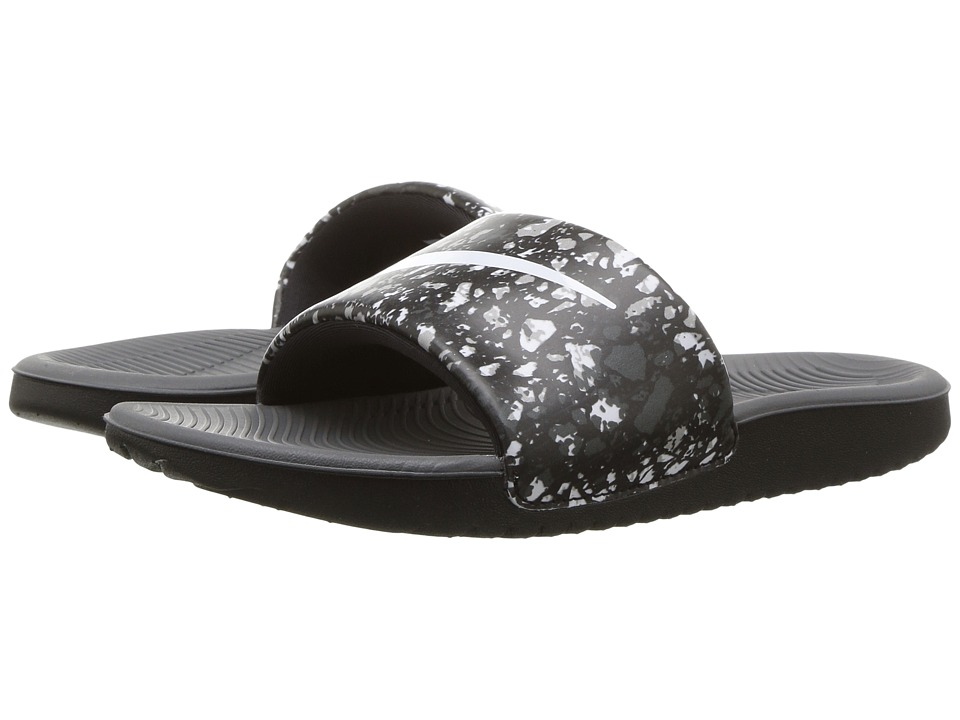 Nike Kids Kawa Slide Print (Little Kid/Big Kid) (Black/White/Dark Grey) Boys Shoes