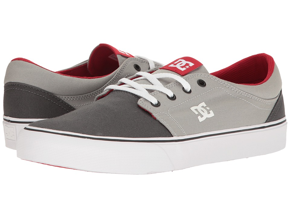 DC Trase TX (Grey/Grey/Red) Skate Shoes