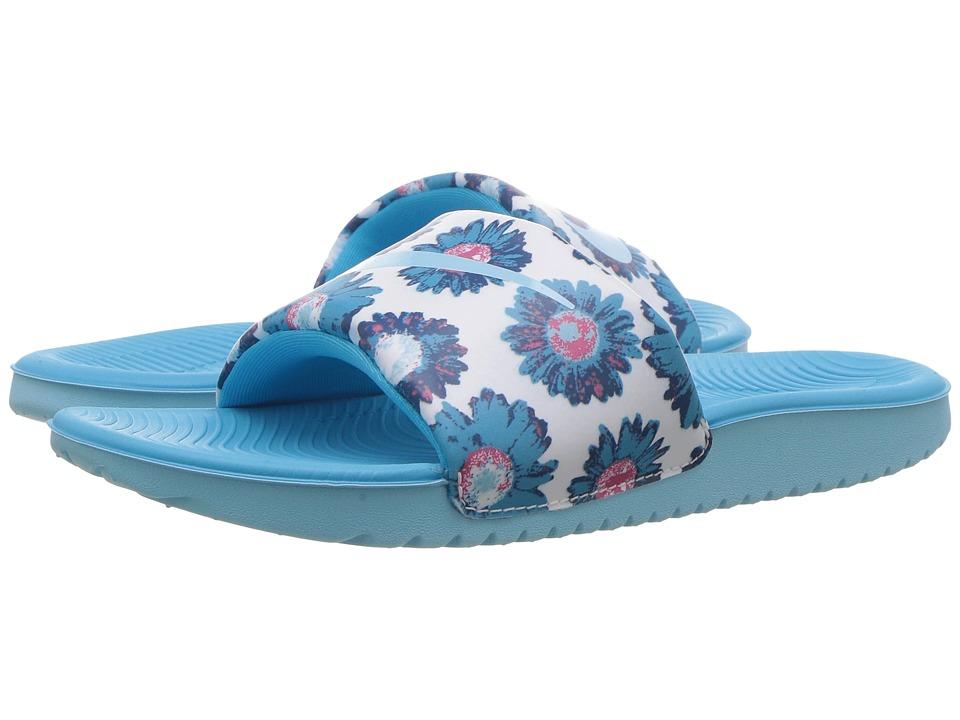 Nike Kids Slide Print (Little Kid/Big Kid) (White/Still Blue/Chlorine Blue/White) Girls Shoes