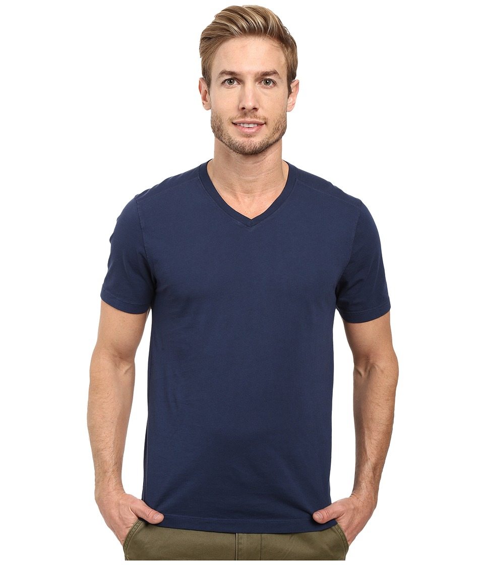 Agave Denim Agave Supima Vee Neck Short Sleeve Tee (Black Iris Navy) Men