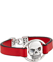 King Baby Studio - Skull Centerpiece Leather Strap Bracelet