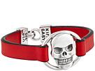 King Baby Studio - Skull Centerpiece Leather Strap Bracelet