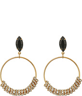 GUESS - Stone Bottom Hoops on Wire Earrings