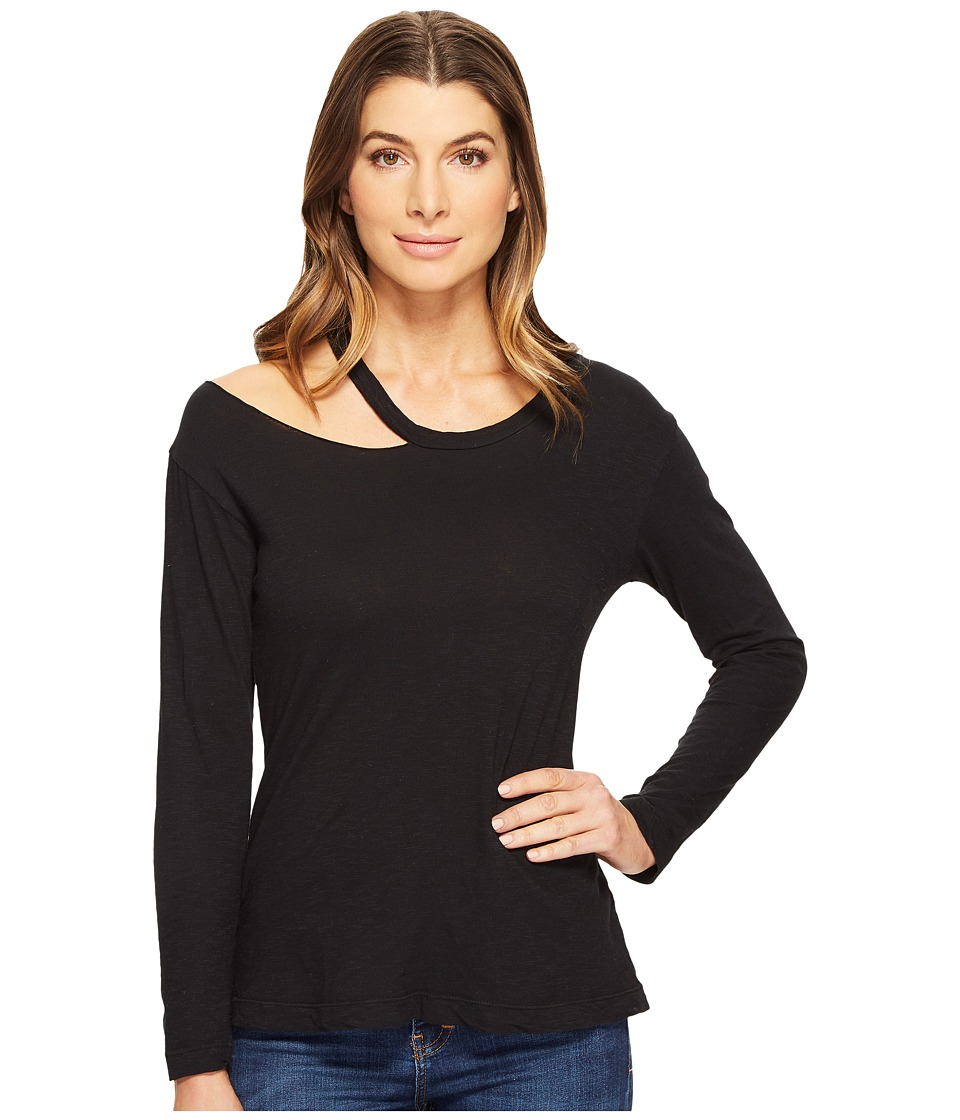 LNA Torn Shoulder Long Sleeve (Black) Women