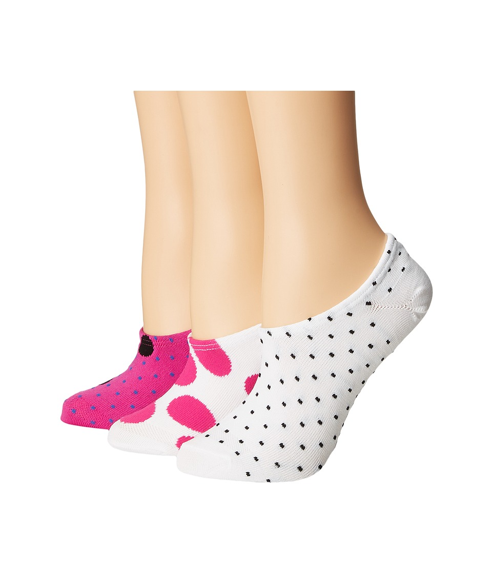 Converse - Chucks Mega Polka Dot 3-Pair Pack (White/Magenta Glow) Women's No Show Socks Shoes