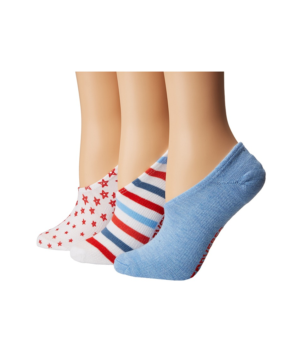 Converse - Chucks Americana Stars 3-Pair Pack (White Multi/Chambray) Women's No Show Socks Shoes
