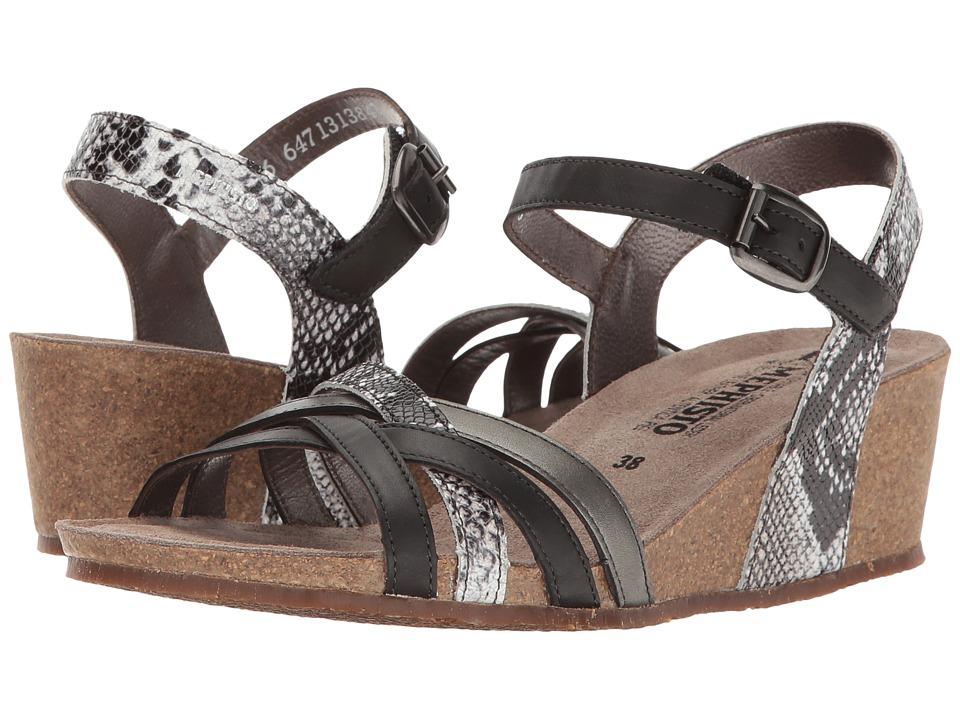 Mephisto - Mado (Black Silk/Graphite Boa/Dark Grey Perl Calfskin) Women's Sandals
