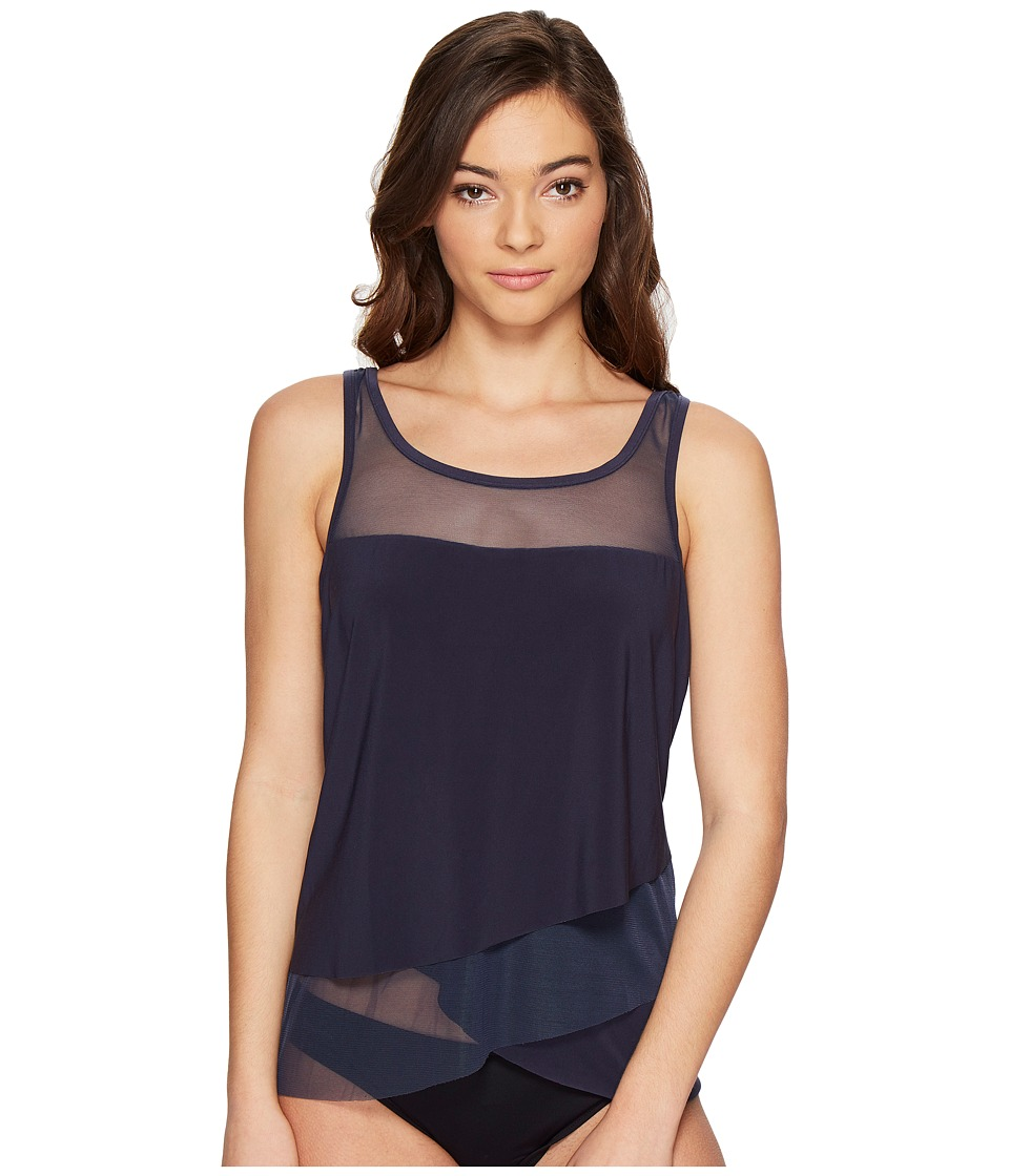 Miraclesuit Solid Separates Mirage Tankini Top (Midnight) Women