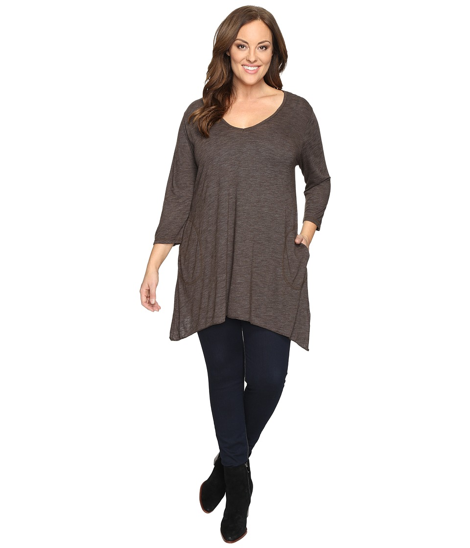 Allen Allen Plus Size Three Quarter Angled Tee (Chocolate) Women