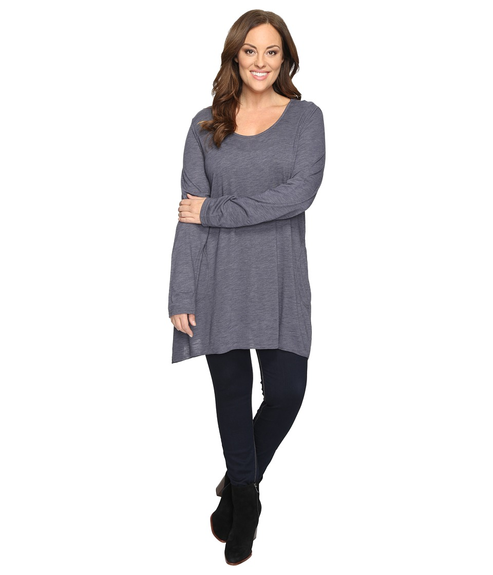 Allen Allen Plus Size Long Sleeve Scoop Angled Tee (Flint) Women