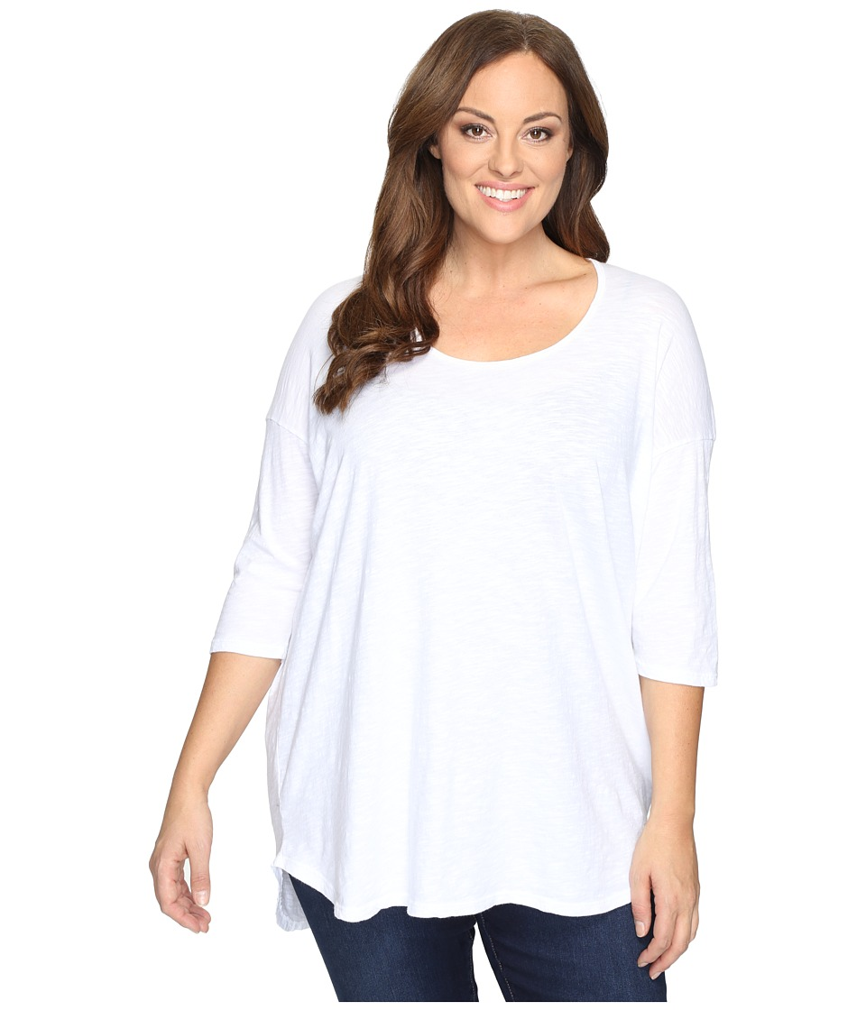 Allen Allen Plus Size Elbow Sleeve Tee w/ High-Low (White) Women
