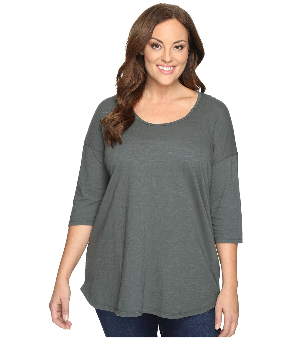 Allen Allen Plus Size Elbow Sleeve Tee w/ High-Low (Cilantro) Women