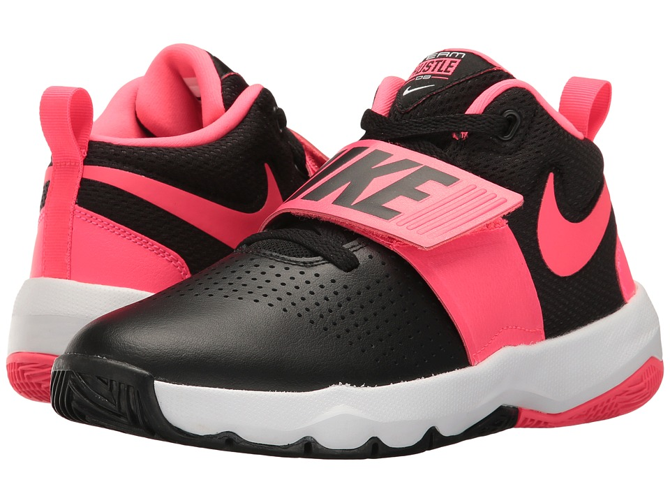Nike Kids Team Hustle D8 (Big Kid) (Black/Racer Pink/White) Girls Shoes