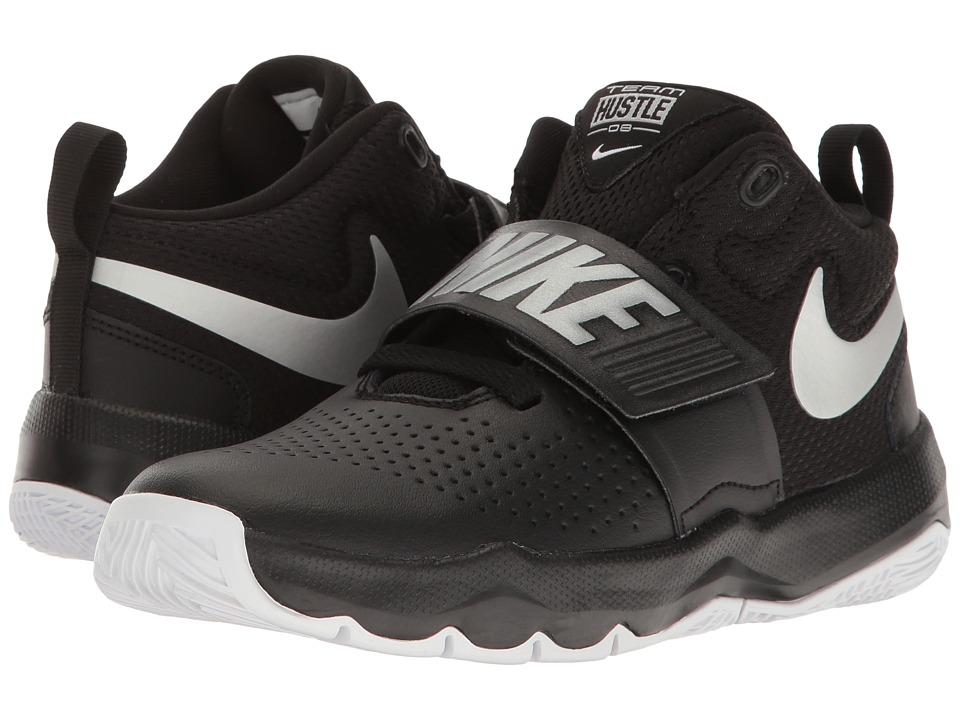Nike Kids Team Hustle D8 (Little Kid) (Black/Metallic Silver/White) Boys Shoes