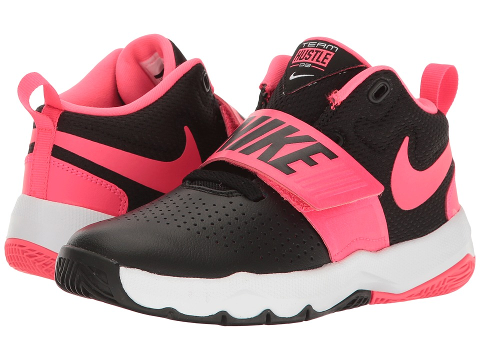 Nike Kids Team Hustle D8 (Little Kid) (Black/Racer Pink/White) Girls Shoes