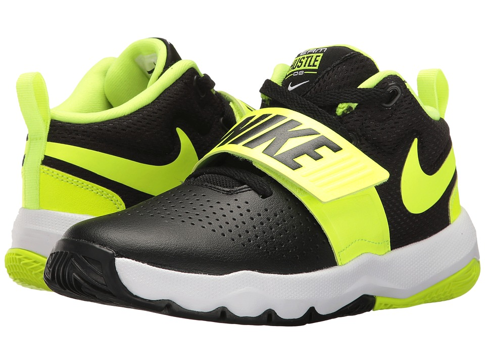 Nike Kids Team Hustle D8 (Little Kid) (Black/Volt/White) Boys Shoes