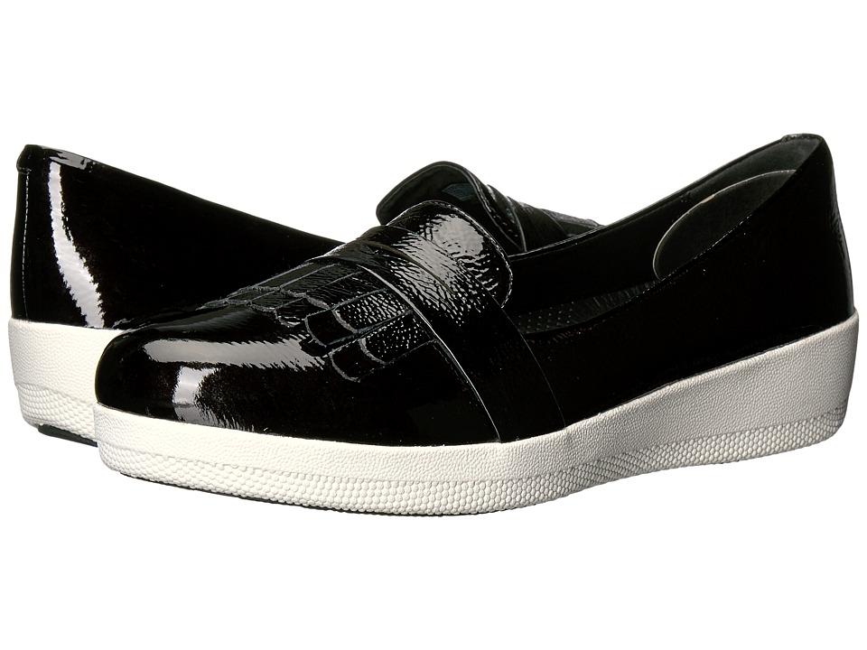 FitFlop Fringey Sneaker Loafer (Black Patent) Women