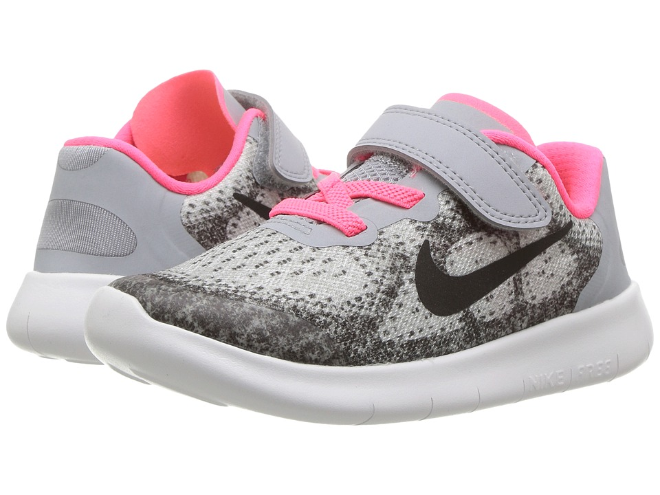 Nike Kids Free RN 2017 (Infant/Toddler) (Wolf Grey/Black/Racer Pink/White) Girls Shoes