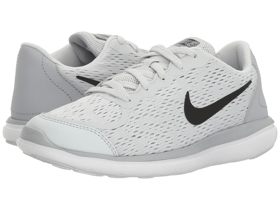 Nike Kids Flex RN 2017 (Little Kid) (Pure Platinum/Black/Wolf Grey/Cool Grey) Girls Shoes