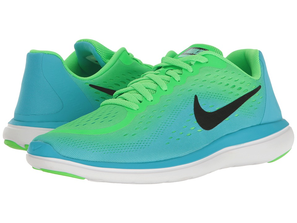 Nike Kids Flex RN 2017 (Big Kid) (Rage Green/Black/Chlorine Blue) Girls Shoes