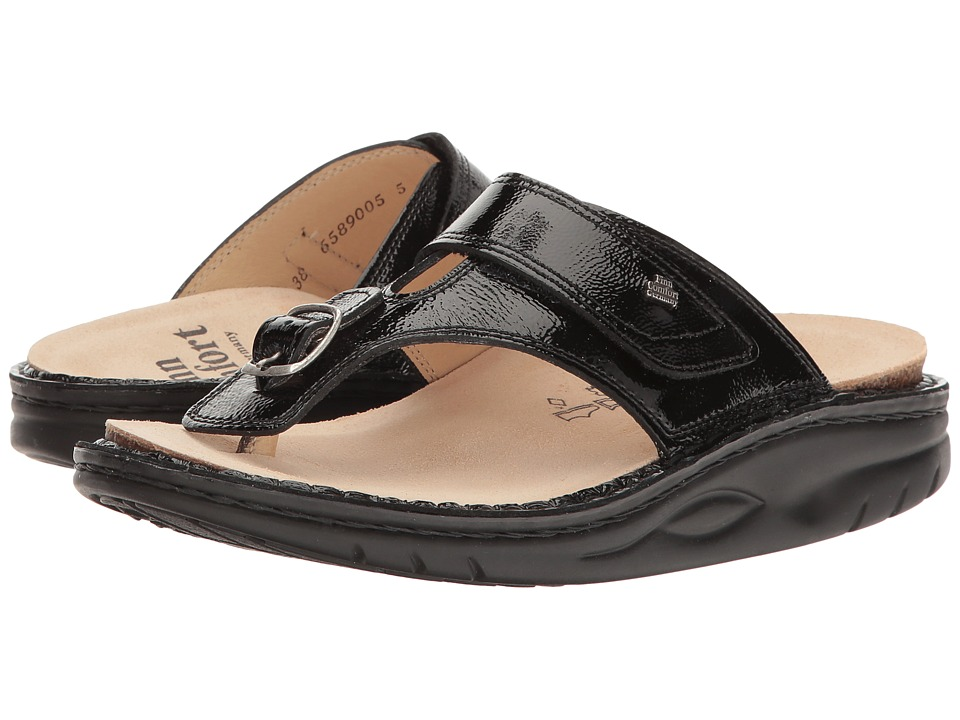Finn Comfort Calmasino (Black Patent) Sandals