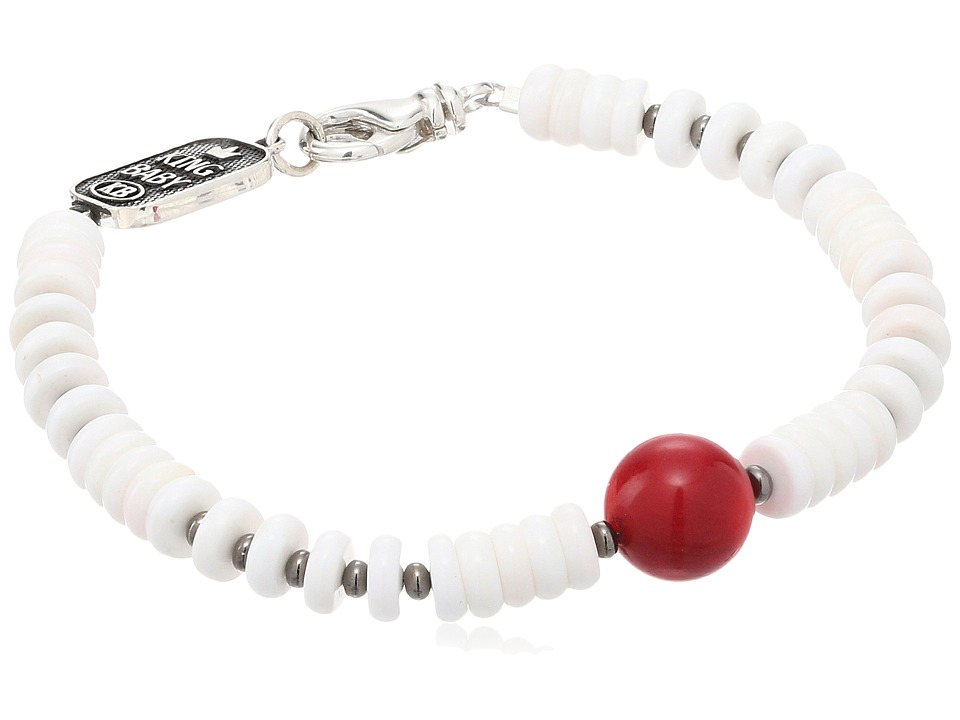 King Baby White Shell Bead Bracelet with a Round Red Cora...