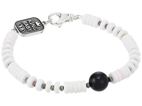 King Baby Studio White Shell Bead Bracelet with a Round Onyx Bead