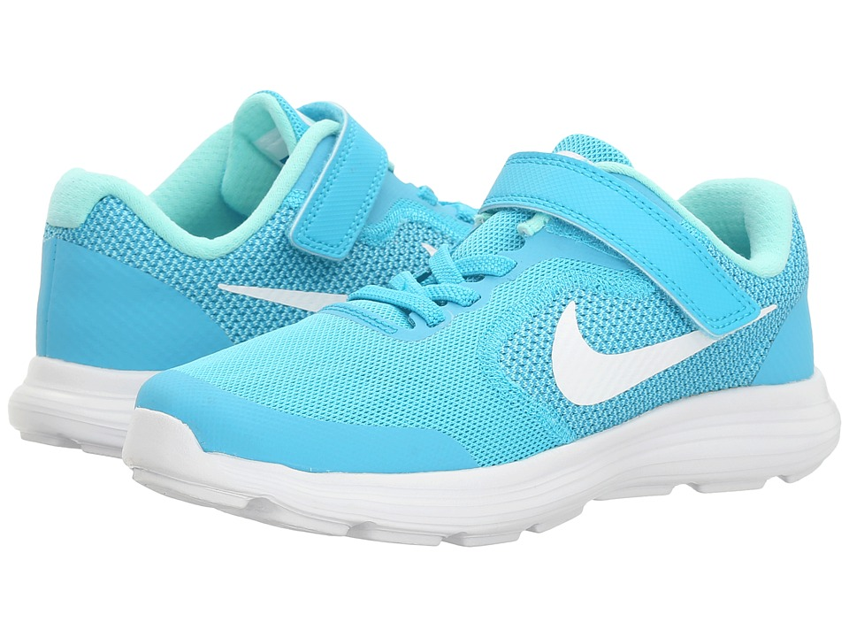 Nike Kids Revolution 3 (Little Kid) (Chlorine Blue/White/Hyper Turquoise) Girls Shoes