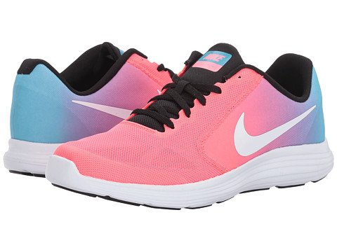 Nike Kids Revolution 3 (Big Kid) - Chlorine Blue/White/Racer Pink/Black