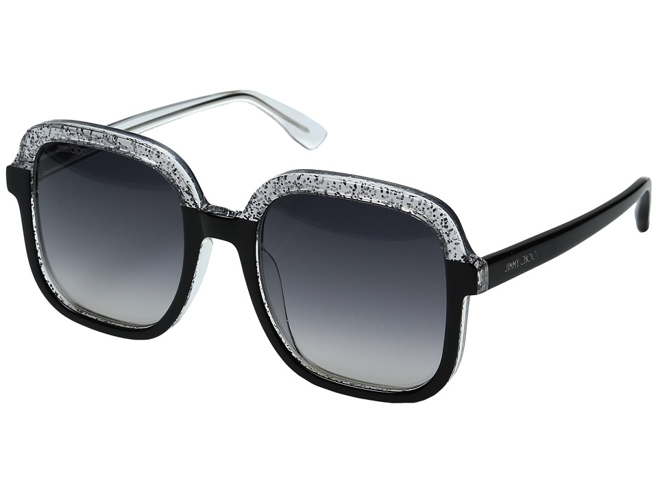 Jimmy Choo - Glint/S (Black Glitter Gray/Dark Gray Gradient Lens) Fashion Sunglasses