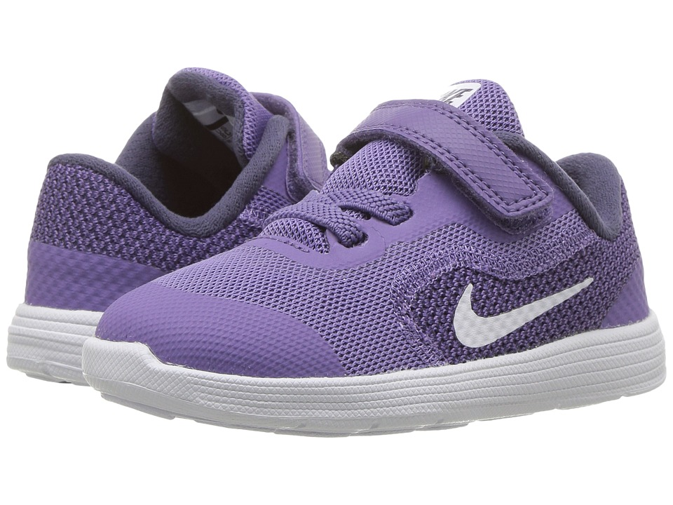 Nike Kids Revolution 3 (Infant/Toddler) (Purple Earth/Metallic Silver/Dark Raisin) Girls Shoes