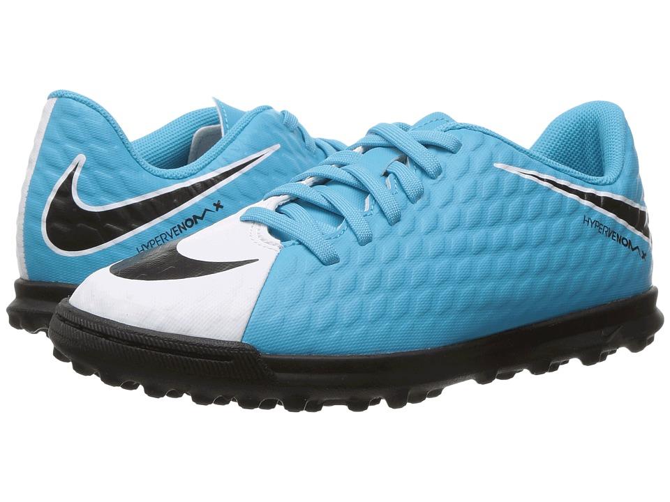Nike Kids Hypervenom Phade III TF Soccer (Little Kid/Big Kid) (White/Black/Photo Blue/Chlorine Blue) Kids Shoes