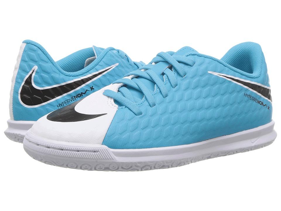 Nike Kids Hypervenom Phade III IC Soccer (Little Kid/Big Kid) (White/Black/Photo Blue/Chlorine Blue) Kids Shoes
