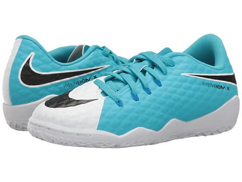Nike Kids Hypervenom Phinish II IC Soccer (Little Kid/Big Kid) - White/Black/Photo Blue/Chlorine Blue