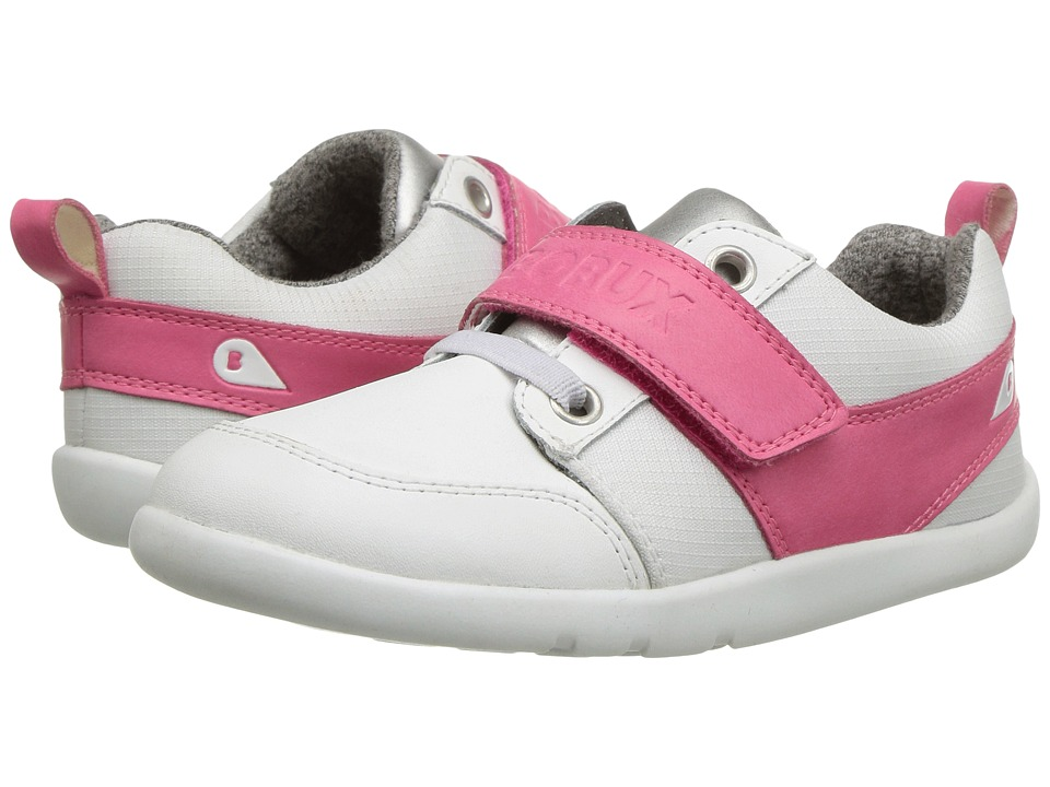 Bobux Kids I-Walk Street Mix (Toddler) (White/Fuchsia) Girl's Shoes