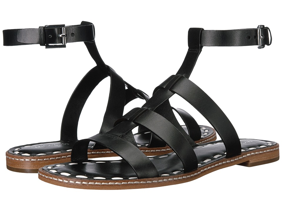MICHAEL Michael Kors Fallon Flat Sandal (Black/Optic White Vachetta) Women