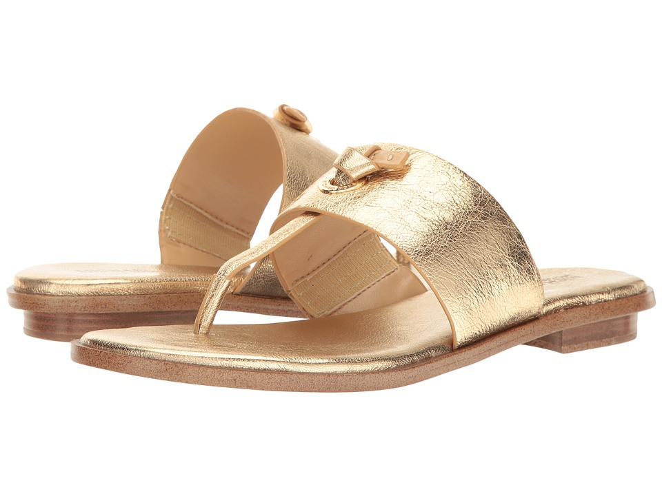 MICHAEL Michael Kors Cindy Sandal (Pale Gold Metallic Nappa) Women