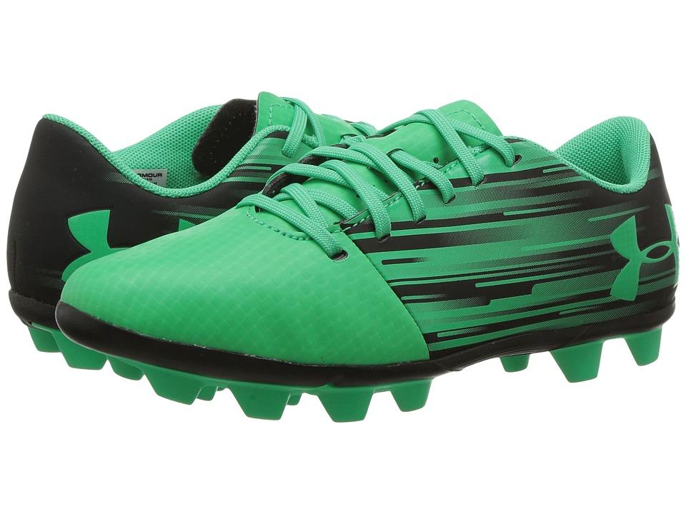 Under Armour Kids Spotlight DL FG-R Jr. Soccer (Toddler/Little Kid/Big Kid) (Black/Viper Green) Kids Shoes