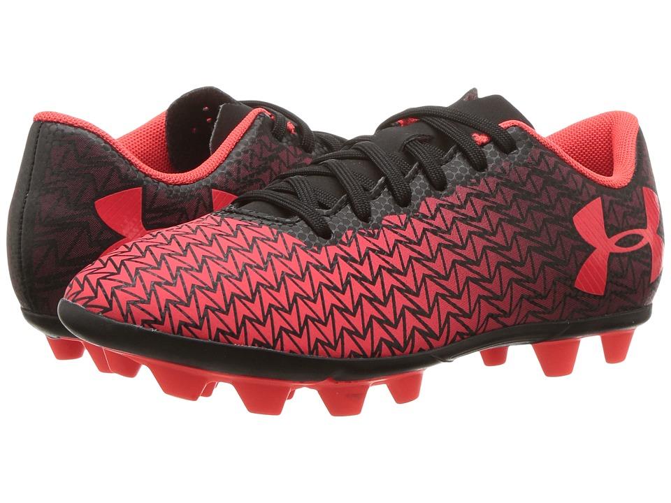 Under Armour Kids CF Force 3.0 FG-R Jr. Soccer (Toddler/Little Kid/Big Kid) (Black/White/Neon Coral) Kids Shoes