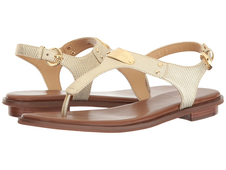 MICHAEL Michael Kors MK Plate Thong (Pale Gold Embossed Lizard Specchio) Sandals