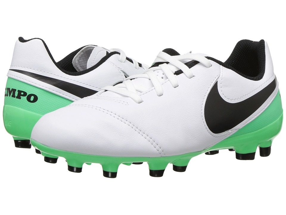 Nike Kids - Jr Tiempo Legend VI FG Soccer (Toddler/Little Kid/Big Kid) (White/Black/Electro Green) Kids Shoes