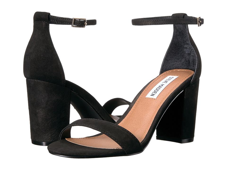 Steve Madden Exclusive - Declair Block Heeled Sandal (Black Nubuck) High Heels
