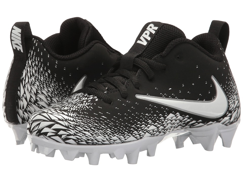 Nike Kids Vapor Varsity Football (Little Kid/Big Kid) (Black/White/Metallic Silver/White) Kids Shoes