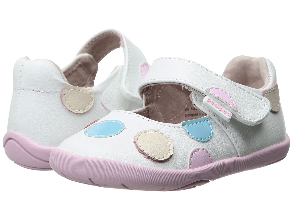pediped - Giselle Grip n Go (Toddler) (White Pastel) Girls Shoes