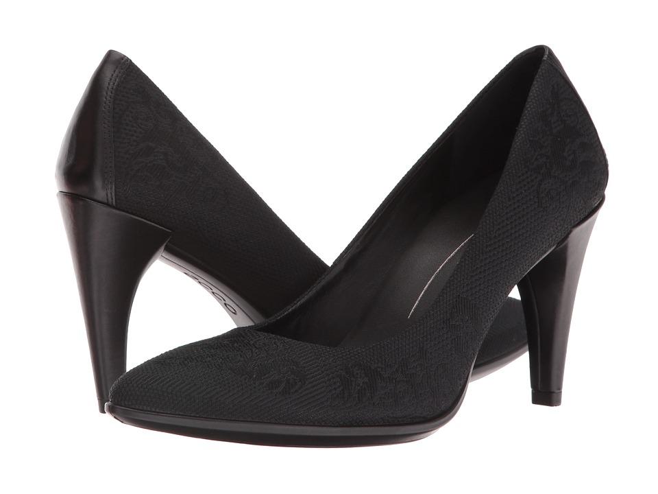ECCO 75 Textured Pump (Black) High Heels