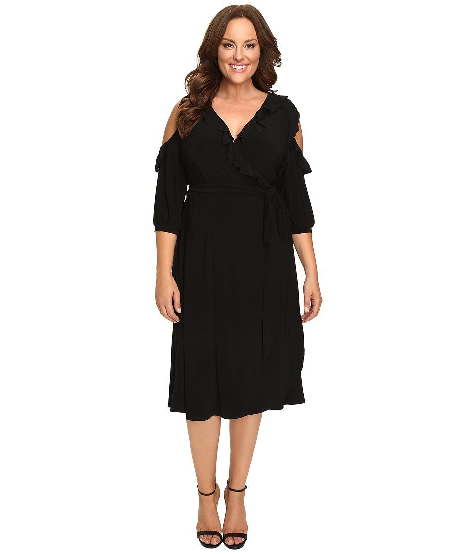 Kiyonna Barcelona Wrap Dress (Black Noir) Women