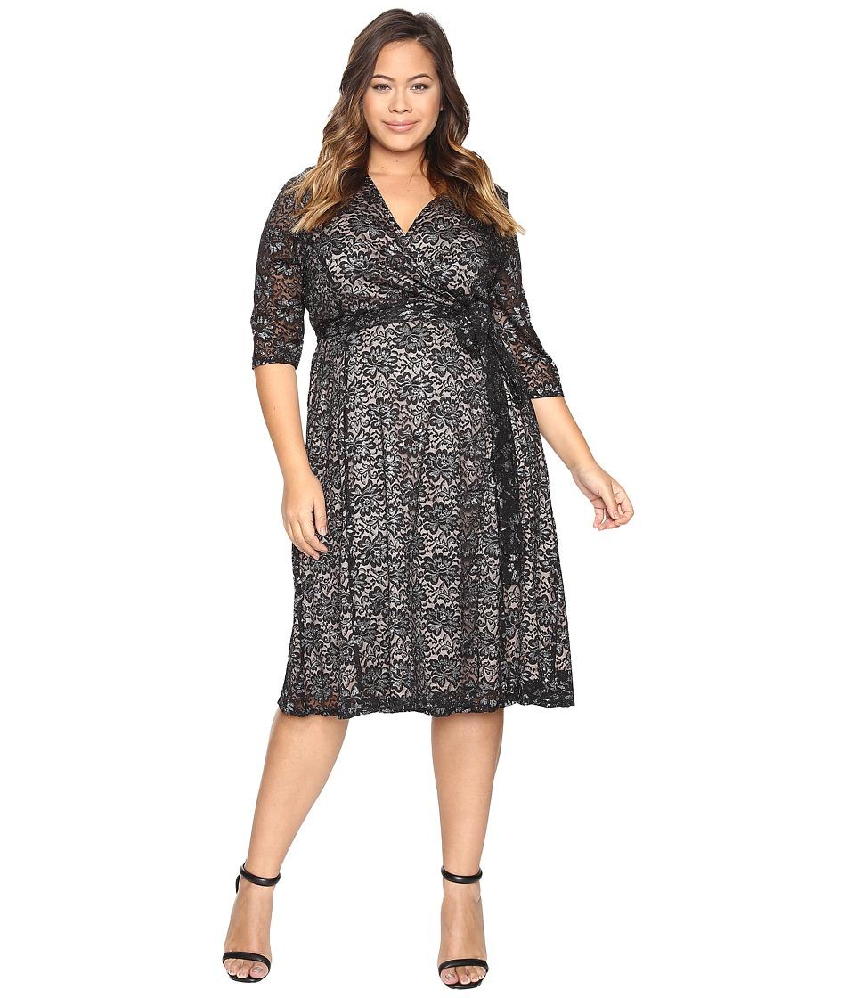 Kiyonna Glittering Affair Wrap Dress (Midnight Sparkle) Women