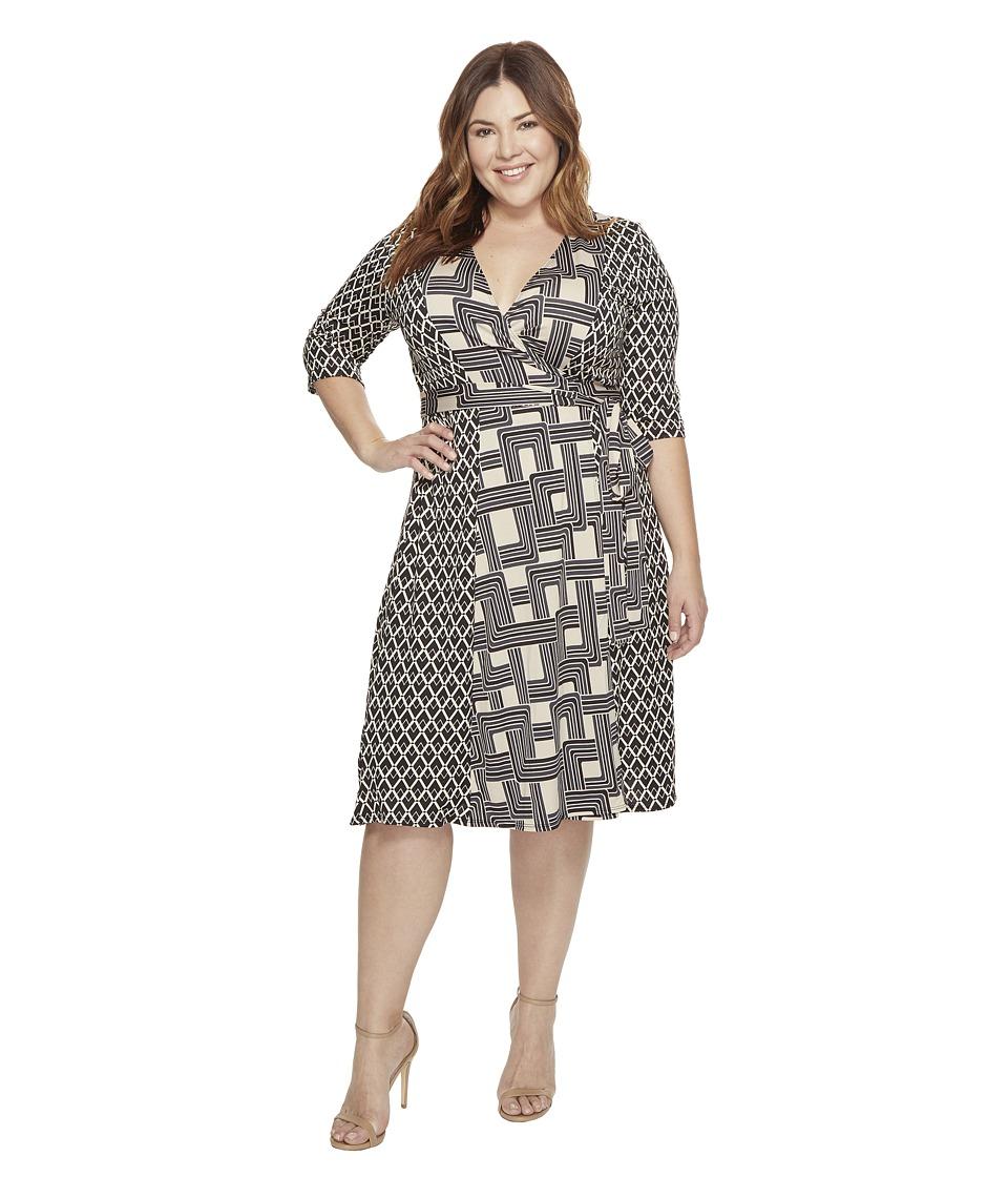Kiyonna In the Mix Wrap Dress (Mod Mix Print) Women