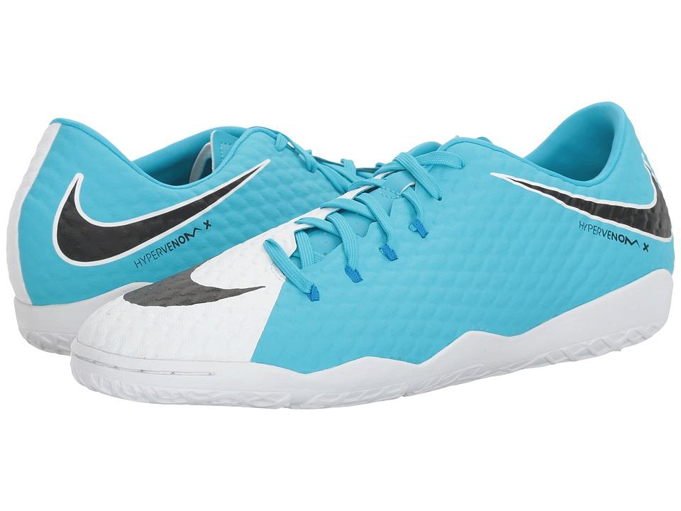 Nike - Hypervenom Phelon III IC (White/Black/Photo Blue/Chlorine Blue) Mens Soccer Shoes