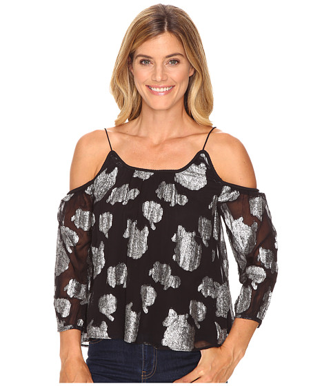Lucky Brand Silver Flower Cold Shoulder Top - Black Multi